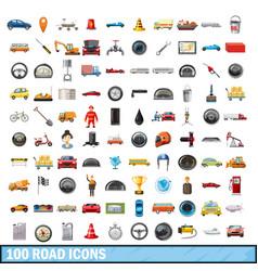 100 road icons set cartoon style vector