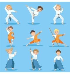 Children on martial arts practice vector