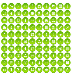 100 pharmacy icons set green circle vector