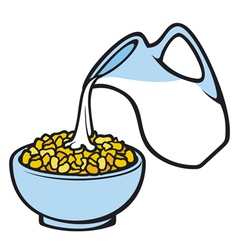 Corn flakes and milk vector
