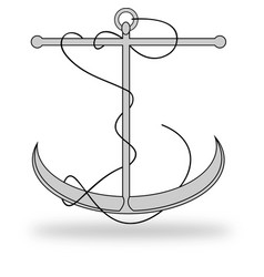Anchor lineart with rope vector