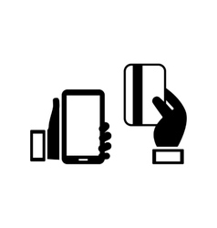 mobile phone and credit card icons vector image