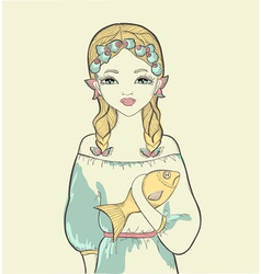 Girl with a fish astrological sign of pisces vector
