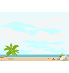 Summer vacation and travel palm tree and starfish vector