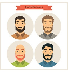 Flat men avatars circle icons set vector