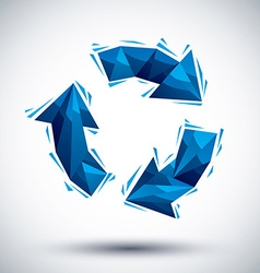Blue recycle geometric icon made in 3d modern vector