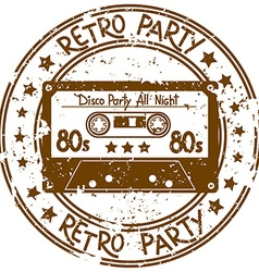 Stamp flyer with cassette tape vector