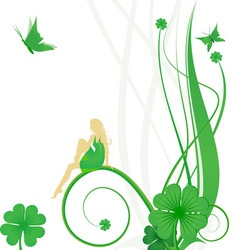 Fairy butterflies and clover vector