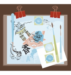 abstract with doodles vector image