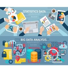 Big data flat horizontal banners set vector
