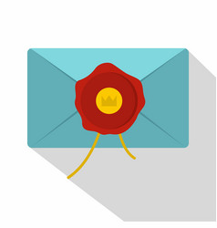 blue envelope with red wax seal icon flat style vector image vector image