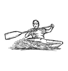 Canoe slalom player - sketch hand vector