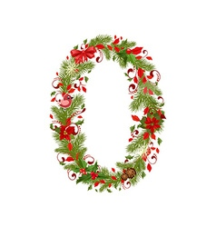 christmas floral tree number 0 vector image vector image