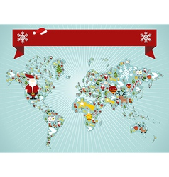 Christmas world map concept vector