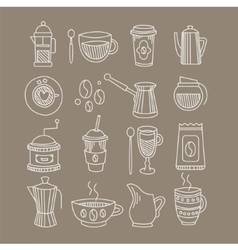 Coffee related sketch drawings set vector