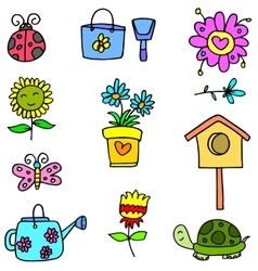 Colorful spring set of doodles vector