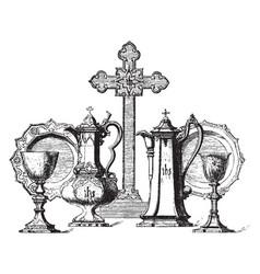 Communion service vintage vector