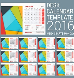 Desk calendar for 2016 year stationery design vector