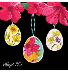 Floral easter eggs vector image