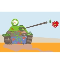 Funnily decorated tank vector