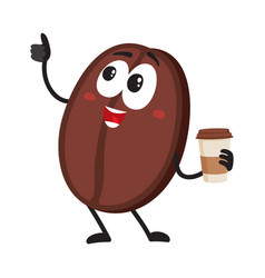 funny coffee bean character with paper cup showing vector image vector image
