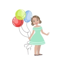 Girl in turquoise dress holding four balloons vector