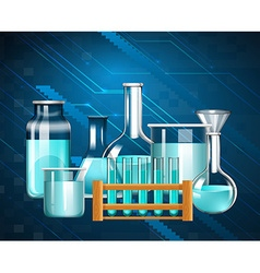 Glass beakers and testtubes with blue liquid vector