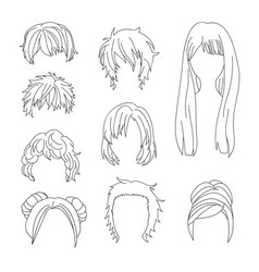 Hairstyle man and woman line2 vector