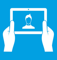 Hands holding tablet icon white vector