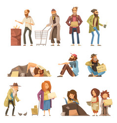 homeless people set vector image