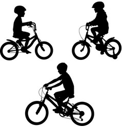 Kids riding bicycles silhouettes vector