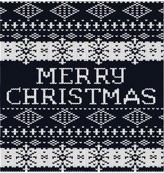 Knitted pattern sweater background christmas black vector image