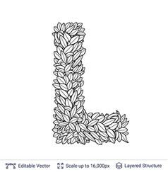 Letter l symbol of white leaves vector