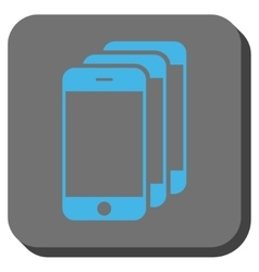 Mobile phones rounded square button vector