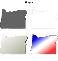 Oregon outline map set vector image vector image