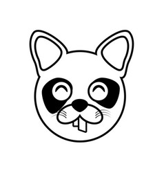 raccoon face animal outline vector image