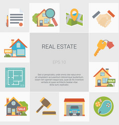 real estate square icons set vector image vector image