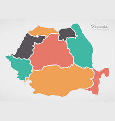 Romania map with states and modern round shapes vector