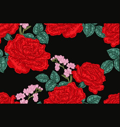 seamless pattern with red rose flowers on black vector image