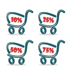 Shopping carts with discount percentage vector image vector image
