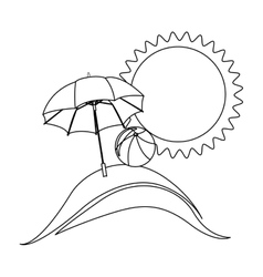 Silhouette background beach with umbrella and ball vector
