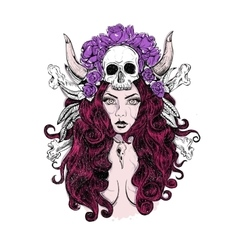 Tattoo woman skull vector