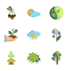 Weather icons set cartoon style vector