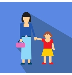 Woman and children flat icon vector