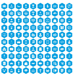 100 business icons set blue vector