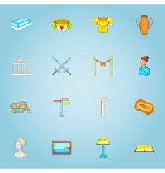 Museum icons set cartoon style vector