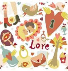 Colorful cartoon romantic love seamless pattern vector image