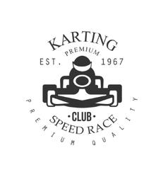 Premium Quality Karting Club Black And White Logo vector image
