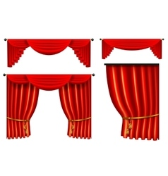 Set of 3d red luxury silk curtain realistic vector