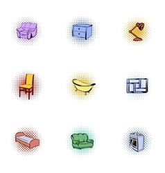 Home environment icons set pop-art style vector